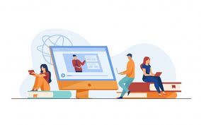 Group of students watching online webina... | Free Vector #Freepik  #freevector #school #books #techno… in 2020 | Online education, Online  school education, Education banner
