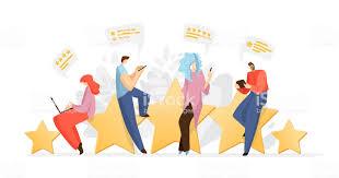 Geribildirim Insanlar Erkek Ve Kadın Büyük Derecelendirme Yıldız Oturan Yorum  Yazma Ve Hizmet Veya Ürün Hakkında Yorum Yapma Ile Anket Vektör Düz Kavram  Fiyat Değerlendirmesi Ve Referans Müşteri Hizmetleri Kavramı Stok Vektör